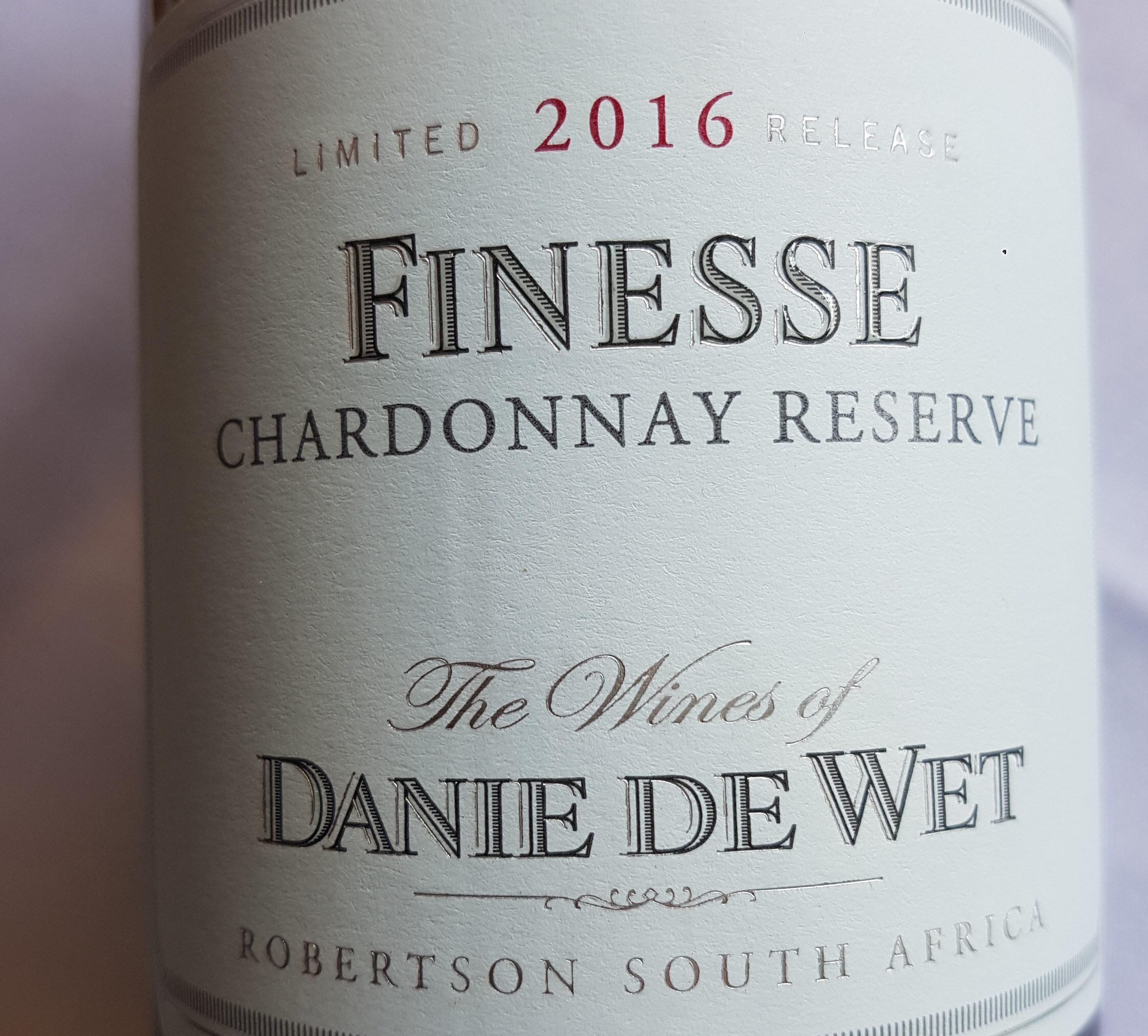 Danie De Wet Finesse Chardonnay 2017 – Afrique du Sud